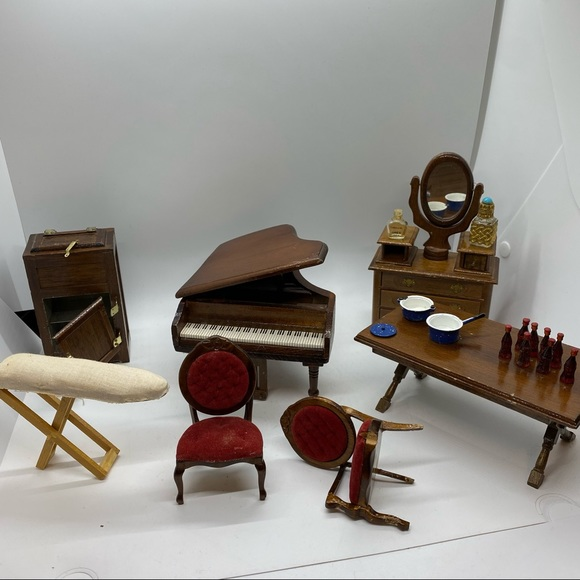 Vintage Dollhouse Furniture Piano Icebox Dresser